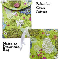 Free E-Reader Cover pattern and matching drawstring bag