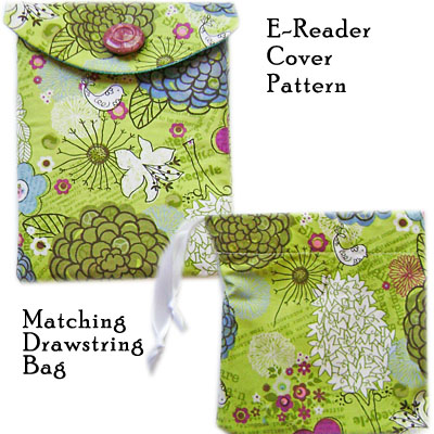 Free E-Reader Pattern with Drawstring bag